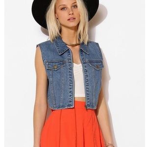 Urban Outfitters zip up cropped denim vest